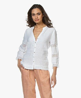 Belluna Mistral Linen Blouse with Lace Details - White