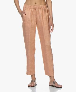 forte_forte Cropped Linen Blend Pants - Pompelmo Rosa