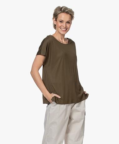 Drykorn Kimana Lyocell T-shirt - Army