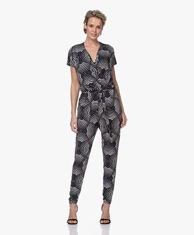 Kyra & Ko Vivian Tech Jersey Print Jumpsuit - Zwart