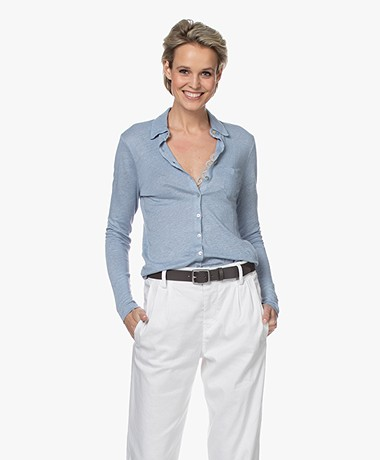 Belluna Santigo Linen Jersey Blouse - Toscano Blue