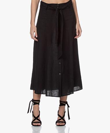 Kyra & Ko Caroline Linen A-line Skirt - Black