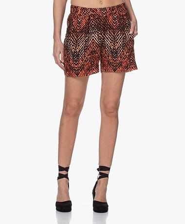 MKT Studio Pantili Linen Blend Printed Shorts - Red/Black