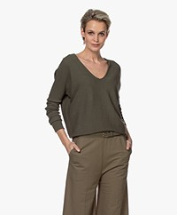 no man's land Rib Knitted Cotton V-neck Sweater - Safari Green
