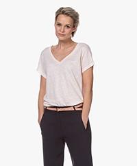 no man's land Linnen V-hals T-shirt - Pink Blush
