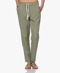 by-bar Emily Linen Blend Pique Pants - Olive