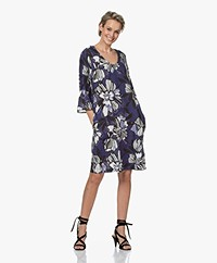 Kyra & Ko Maddy Floral Printed Linen Dress  - Denim