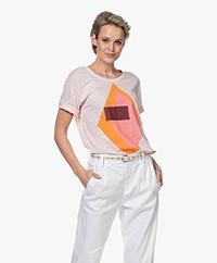 Closed Linnen Print T-shirt - Soft Pink