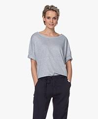 no man's land Losvallend Linnen T-shirt - Pearl Grey