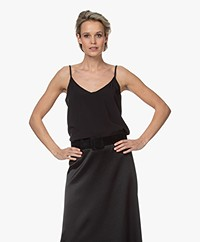 LaDress Ariana Crêpe de Chine V-neck Top - Black