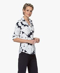 JapanTKY Akae Travel Jersey Flower Print Blouse - Blue Black/White