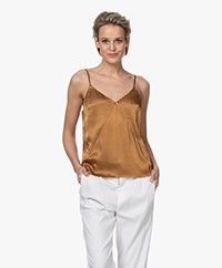 Marie Sixtine West Satin Spaghetti Strap Top - Bronze