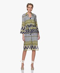 Kyra & Ko Aleida Viscose Shirt Dress with Print - Denim