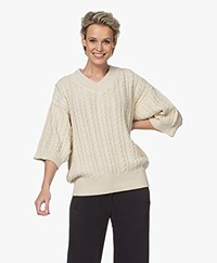 I Love Mr Mittens Cotton Cable V Neck Sweater - Ivory