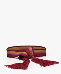 forte_forte Stripe Sash Belt with Tassels - Burgundy