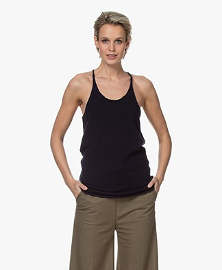 extreme cashmere N°58 Invisible Cashmere Tank Top - Navy