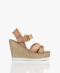 See by Chloé Calf Skin Wedge Espadrilles - Light Rose