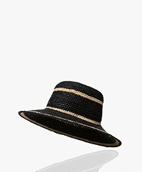Pomandère Raffia Striped Hat - Black