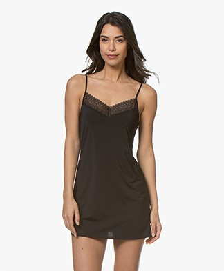 Calvin Klein Flirty Chemise with Lace - Black