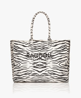 Ragdoll LA Holiday Zebra Canvas Bag - White