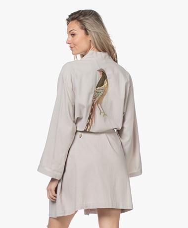 HAMMAM34 The Pheasant Geborduurde Katoenen Kimono - Mink