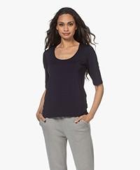 LaSalle Lyocell T-shirt met Halflange Mouwen - Navy