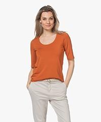 LaSalle Lyocell T-shirt met Halflange Mouwen - Sedona