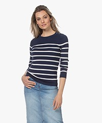 Plein Publique L'Elisa Striped Pullover with Silk - Navy/Ivory