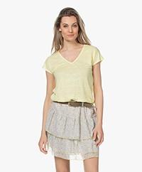 indi & cold Linen V-neck T-shirt - Amarillo
