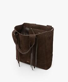 Closed Mallow Nubuck Leather Shoulder Bag - Cold Hazel