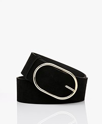 ba&sh Cole Suede Leather Belt - Black