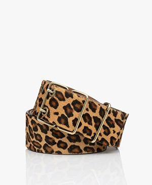 ba&sh Casie Wide Leather Zebra Print Belt - Camel/Black/Brown