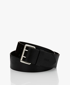 Closed Wide Leather Belt - Black