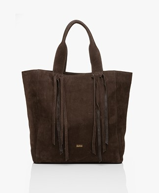 Closed Mallow Nubuck Leather Shoulder Bag - Cold Hazel