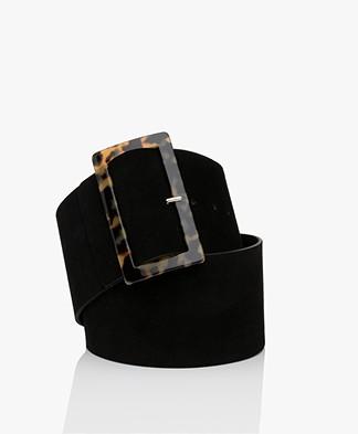 ba&sh Charlie Suede Leather Waist Belt - Black