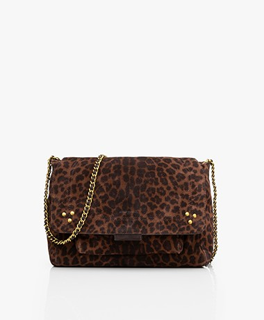 Jerome Dreyfuss Lulu M Leather Shoulder/Cross-body Bag - Leopard/Vintage Gold