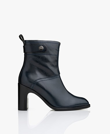 See by Chloé New Gaucho Leather Ankle Boots - Navy