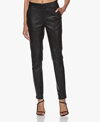 LaSalle Leather Slim-fit Pants - Black