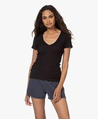James Perse Slub Jersey V-hals T-shirt - Zwart