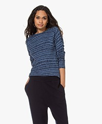 Belluna Allure Viscose-Wolmix Trui met Print - Jeans/Blauw