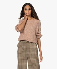 indi & cold Ajour Knitted Boat Neck Sweater - Rosa Palo