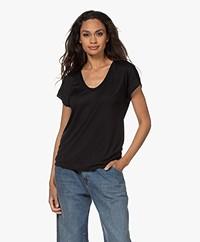 Closed Lyocell Mix U-hals T-shirt - Zwart