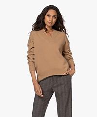 no man's land Wool-Cashmere Blend V-neck Sweater - Camel