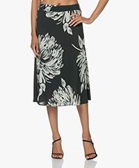 KYRA Mira Crepe Viscose Blend Print Midi Skirt - Dark Green