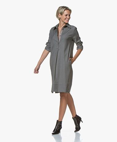 LaSalle Wool Blend Stretch Shirt Dress - Grey