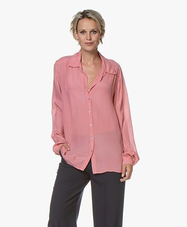 BY-BAR Keetje Silk Blend Crepe Blouse - Pink