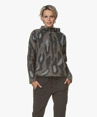 Woman by Earn Martine Jacquard Funnelneck Sweater - Dark Grey