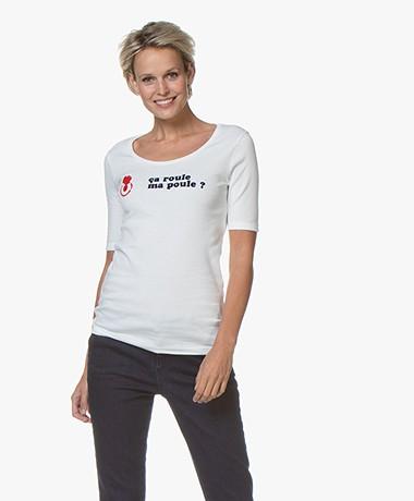 La Petite Française Trésor Flock Print T-shirt - Ecru/Marine