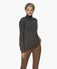 Woman by Earn Ace Turtleneck Sweater in Merino Wool - Dark Grey