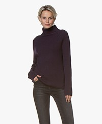 Woman by Earn Anne Wool Rib Turtleneck Sweater - Grape